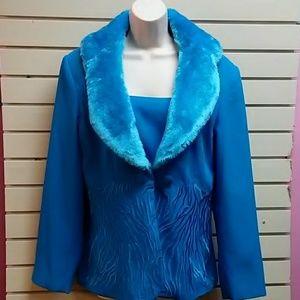 Woman's size 12 blue coat & skirt set